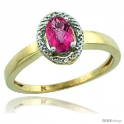14k Yellow Gold Diamond Halo Pink Topaz Ring 0.75 Carat Oval Shape 6X4 mm, 3/8 in (9mm) wide