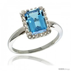 Sterling Silver Diamond Natural London Blue Topaz Ring 1.6 ct Emerald Shape 8x6 mm, 1/2 in wide