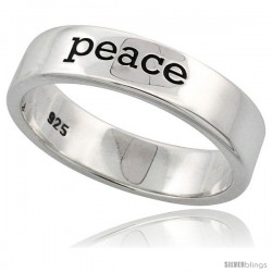Sterling Silver PEACE Ring Flawless finish Band, 3/16 in wide