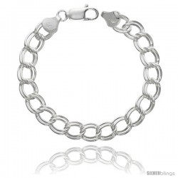 Sterling Silver Italian Double Curb Charm Bracelet 9mm Nickel Free heavy weight