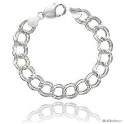 Sterling Silver Italian Double Curb Charm Bracelet 11.2mm wide