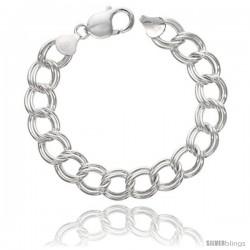 Sterling Silver Italian Double Curb Charm Bracelet 11.2mm wide