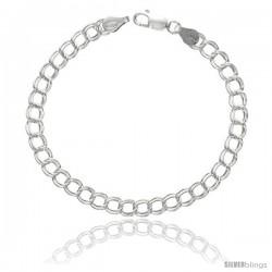 Sterling Silver Italian Double Curb Charm Bracelet 5.3mm Nickel Free, 7 - 8 in