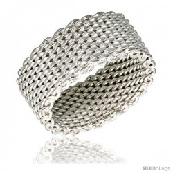 Sterling Silver Heavy Mesh Ring Handmade 5/16 in wide