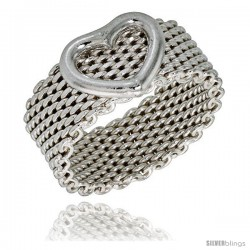 Sterling Silver Heavy Mesh Ring w/ Heart Handmade 5/16 in wide