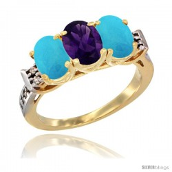 10K Yellow Gold Natural Amethyst & Turquoise Sides Ring 3-Stone Oval 7x5 mm Diamond Accent