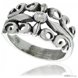Sterling Silver Floral Vine Ring 7/16 in wide