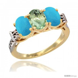 10K Yellow Gold Natural Green Amethyst & Turquoise Sides Ring 3-Stone Oval 7x5 mm Diamond Accent