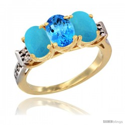 10K Yellow Gold Natural Swiss Blue Topaz & Turquoise Sides Ring 3-Stone Oval 7x5 mm Diamond Accent