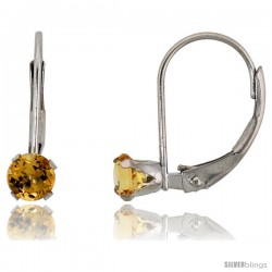 10k White Gold Natural Citrine Leverback Earrings 4mm Brilliant Cut November Birthstone, 9/16 in tall