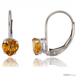 10k White Gold Natural Citrine Leverback Heart Earrings 5mm November Birthstone, 9/16 in tall