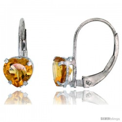 10k White Gold Natural Citrine Leverback Heart Earrings 6mm November Birthstone, 9/16 in tall