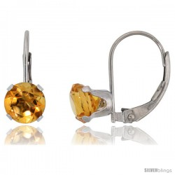 10k White Gold Natural Citrine Leverback Earrings 6mm Brilliant Cut November Birthstone, 9/16 in tall