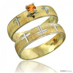 10k Gold Ladies' 2-Piece 0.25 Carat Orange Sapphire Engagement Ring Set Diamond-cut Pattern Rhodium Accent, -Style 10y508e2