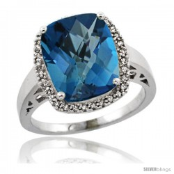 Sterling Silver Diamond Natural London Blue Topaz Ring 5.17 ct Checkerboard Cut Cushion 12x10 mm, 1/2 in wide