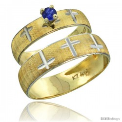 10k Gold 2-Piece 0.25 Carat Deep Blue Sapphire Ring Set (Engagement Ring & Man's Wedding Band) Diamond-cut -Style 10y508em