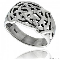 Sterling Silver Celtic Knot Pattern Ring 1/2 in wide