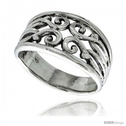 Sterling Silver Swirl Ring 1/2 in wide