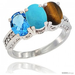 14K White Gold Natural Swiss Blue Topaz, Turquoise & Tiger Eye Ring 3-Stone 7x5 mm Oval Diamond Accent