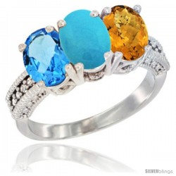14K White Gold Natural Swiss Blue Topaz, Turquoise & Whisky Quartz Ring 3-Stone 7x5 mm Oval Diamond Accent