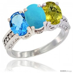 14K White Gold Natural Swiss Blue Topaz, Turquoise & Lemon Quartz Ring 3-Stone 7x5 mm Oval Diamond Accent