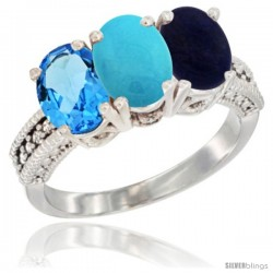 14K White Gold Natural Swiss Blue Topaz, Turquoise & Lapis Ring 3-Stone 7x5 mm Oval Diamond Accent