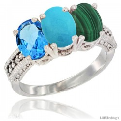 14K White Gold Natural Swiss Blue Topaz, Turquoise & Malachite Ring 3-Stone 7x5 mm Oval Diamond Accent