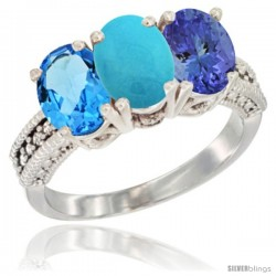 14K White Gold Natural Swiss Blue Topaz, Turquoise & Tanzanite Ring 3-Stone 7x5 mm Oval Diamond Accent
