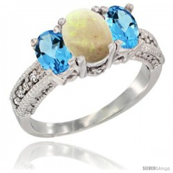 14k White Gold Ladies Oval Natural Opal 3-Stone Ring with Swiss Blue Topaz Sides Diamond Accent