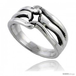 Sterling Silver Wave Wedding Band Ring 1/2 in wide
