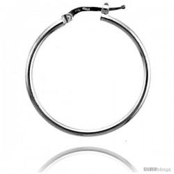 Sterling Silver Italian 2mm Tube Hoop Earrings, 1 1/4 in (30 mm)