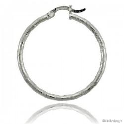 "Sterling Silver 2mm Tube Candy Striped Hoop Earrings, 1 3/16"" (30 mm)"