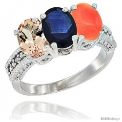 14K White Gold Natural Morganite, Blue Sapphire & Coral Ring 3-Stone Oval 7x5 mm Diamond Accent