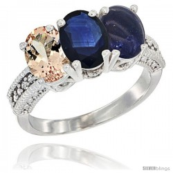 14K White Gold Natural Morganite, Blue Sapphire & Lapis Ring 3-Stone Oval 7x5 mm Diamond Accent