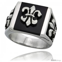 Surgical Steel Fleur de lis Ring 1 in long