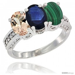 14K White Gold Natural Morganite, Blue Sapphire & Malachite Ring 3-Stone Oval 7x5 mm Diamond Accent