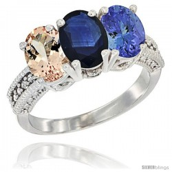 14K White Gold Natural Morganite, Blue Sapphire & Tanzanite Ring 3-Stone Oval 7x5 mm Diamond Accent