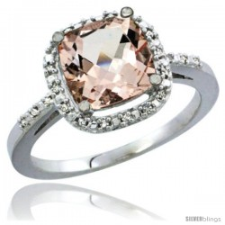 14k White Gold Ladies Natural Morganite Ring Cushion-cut 3.85 ct. 8x8 Stone Diamond Accent