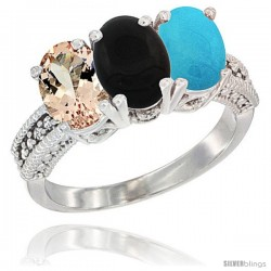 14K White Gold Natural Morganite, Black Onyx & Turquoise Ring 3-Stone Oval 7x5 mm Diamond Accent