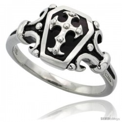 Surgical Steel Biker Coffin Ring w/ Cross 1 in long