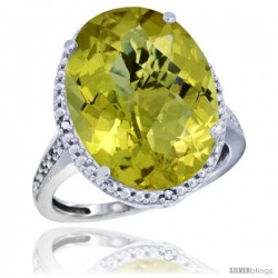 10k White Gold Diamond Lemon Quartz Ring 13.56 ct Large Oval 18x13 mm Stone, 3/4 in wide