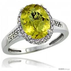 10k White Gold Diamond Lemon Quartz Ring 2.4 ct Oval Stone 10x8 mm, 1/2 in wide