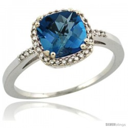 Sterling Silver Diamond Natural London Blue Topaz Ring 1.5 ct Checkerboard Cut Cushion Shape 7 mm, 3/8 in wide