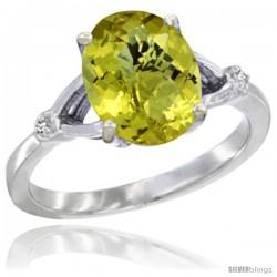10k White Gold Diamond Lemon Quartz Ring 2.4 ct Oval Stone 10x8 mm, 3/8 in wide
