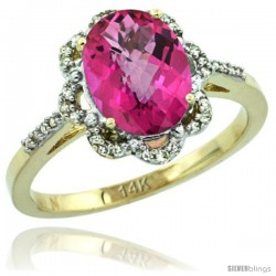 14k Yellow Gold Diamond Halo Pink Topaz Ring 1.65 Carat Oval Shape 9X7 mm, 7/16 in (11mm) wide