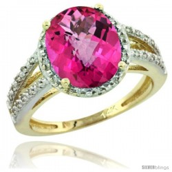 14k Yellow Gold Diamond Halo Pink Topaz Ring 2.85 Carat Oval Shape 11X9 mm, 7/16 in (11mm) wide