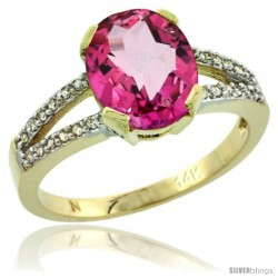 14k Yellow Gold and Diamond Halo Pink Topaz Ring 2.4 carat Oval shape 10X8 mm, 3/8 in (10mm) wide