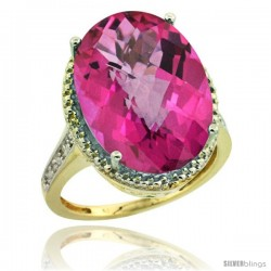 14k Yellow Gold Diamond Pink Topaz Ring 13.56 Carat Oval Shape 18x13 mm, 3/4 in (20mm) wide