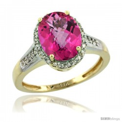14k Yellow Gold Diamond Pink Topaz Ring 2.4 ct Oval Stone 10x8 mm, 1/2 in wide