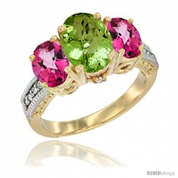 14K Yellow Gold Ladies 3-Stone Oval Natural Peridot Ring with Pink Topaz Sides Diamond Accent